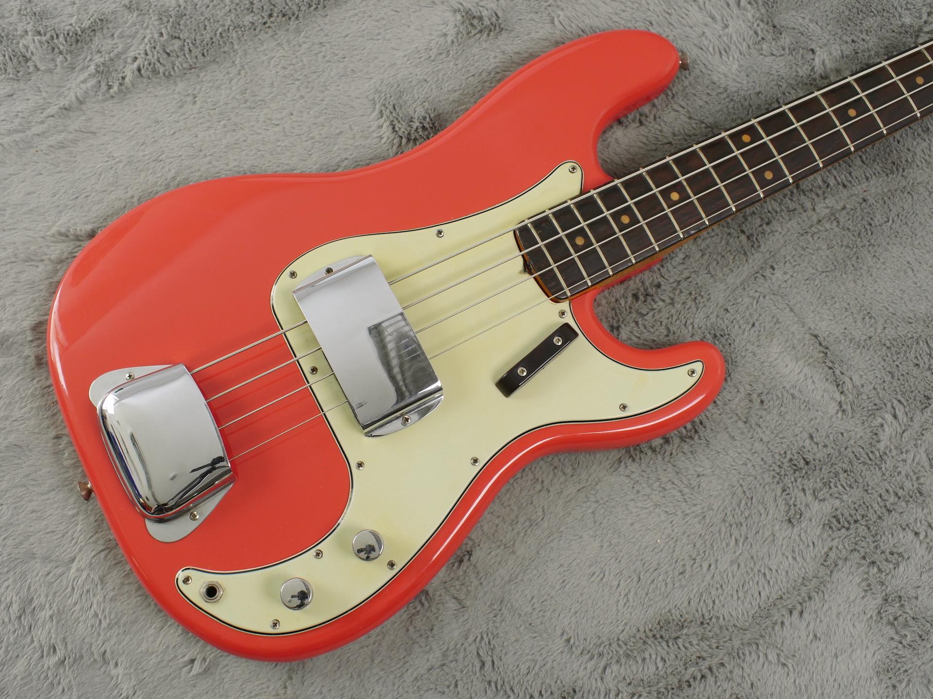 1963 Fender Precision Bass Fiesta Red body Refin + HSC