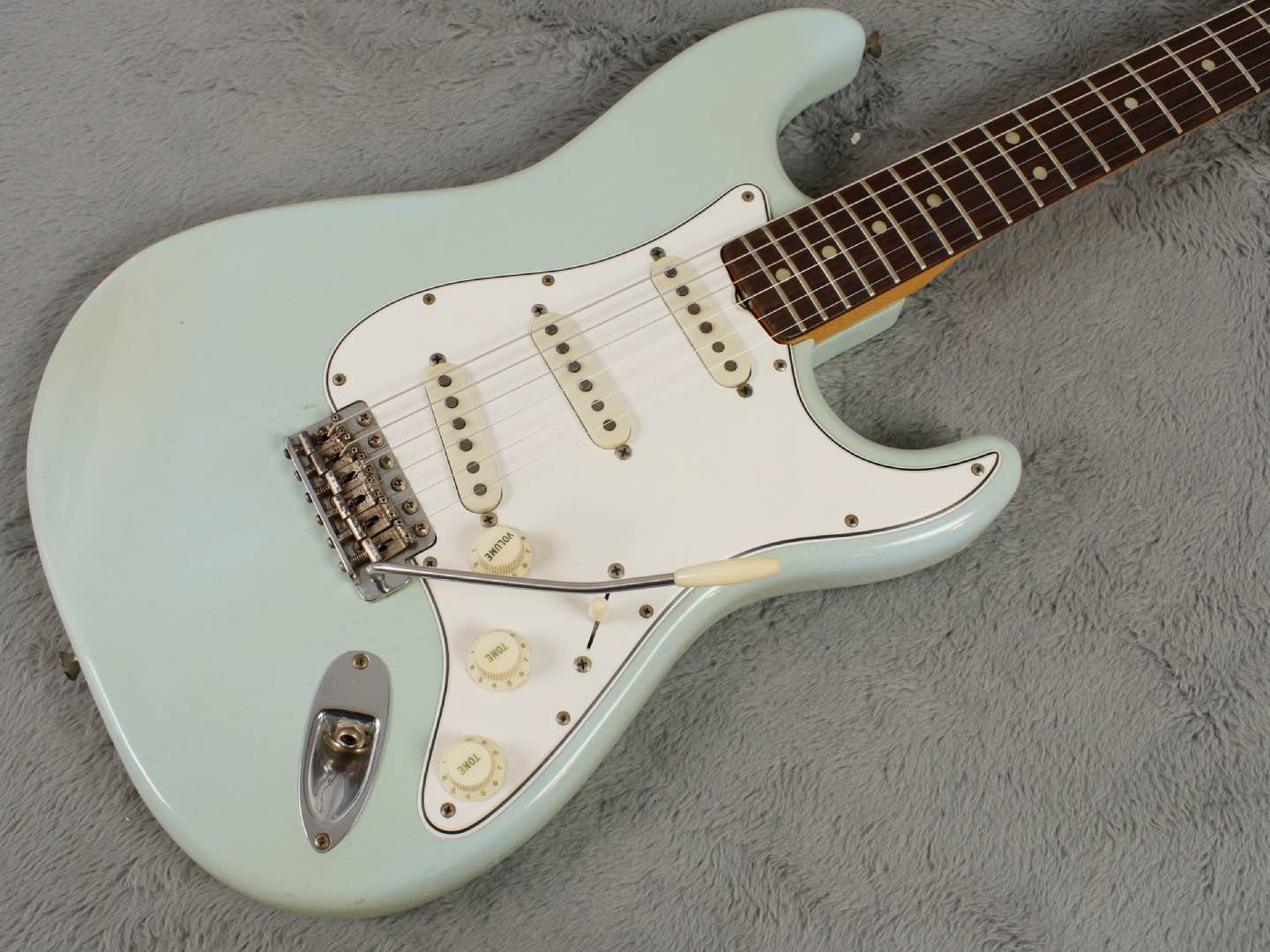 1965 near MINT Fender Stratocaster Daphne Blue + OHSC Tags