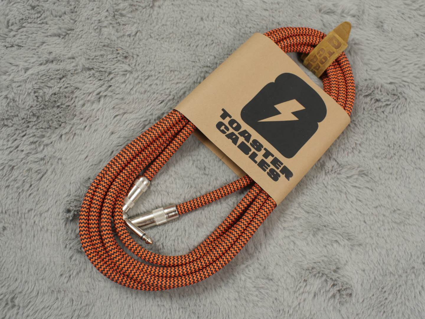 Toaster Cables Black & Orange Zigzag - Free Shipping